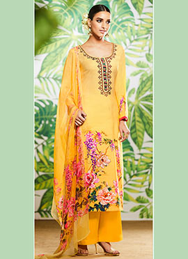 Yellow Digital Printed Palazzo Suit