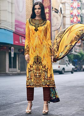 Yellow Digital Printed Straight Pant Suit