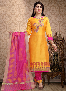 Yellow Embrodiered Churidar Suit