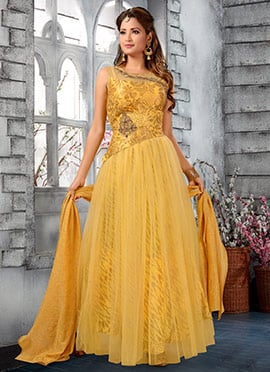 Yellow Embroidered Abaya Style Anarkali Suit