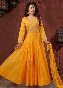 Yellow Embroidered Abaya Style Anarkali Suit