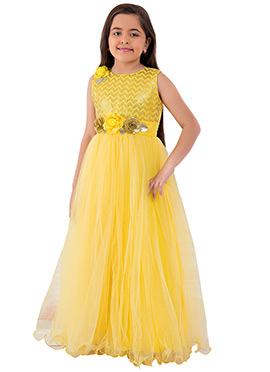 Yellow Embroidered Anarkali Gown