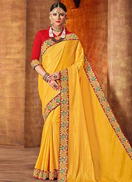Yellow Embroidered Border Saree