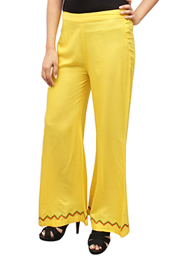 Yellow Embroidered Palazzo Pant