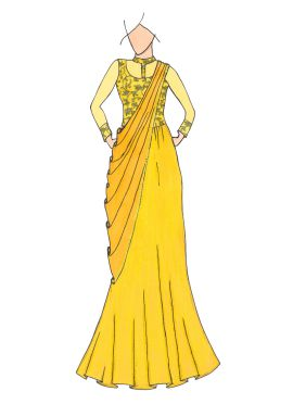 Yellow Embroidered Sheer Saree Gown