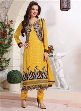 Yellow Evelyn Sharma Georgette Churidar Suit