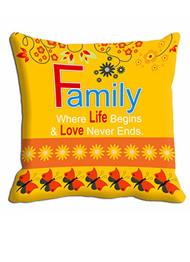 Yellow Family Life Cushion Cover