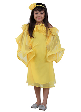 Yellow Faux Georgette Kids Dress