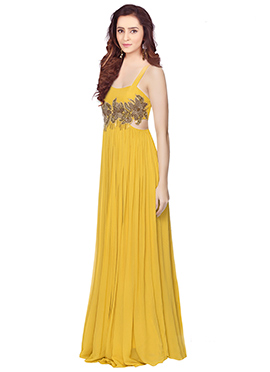 Yellow Georgette Anarkali Gown
