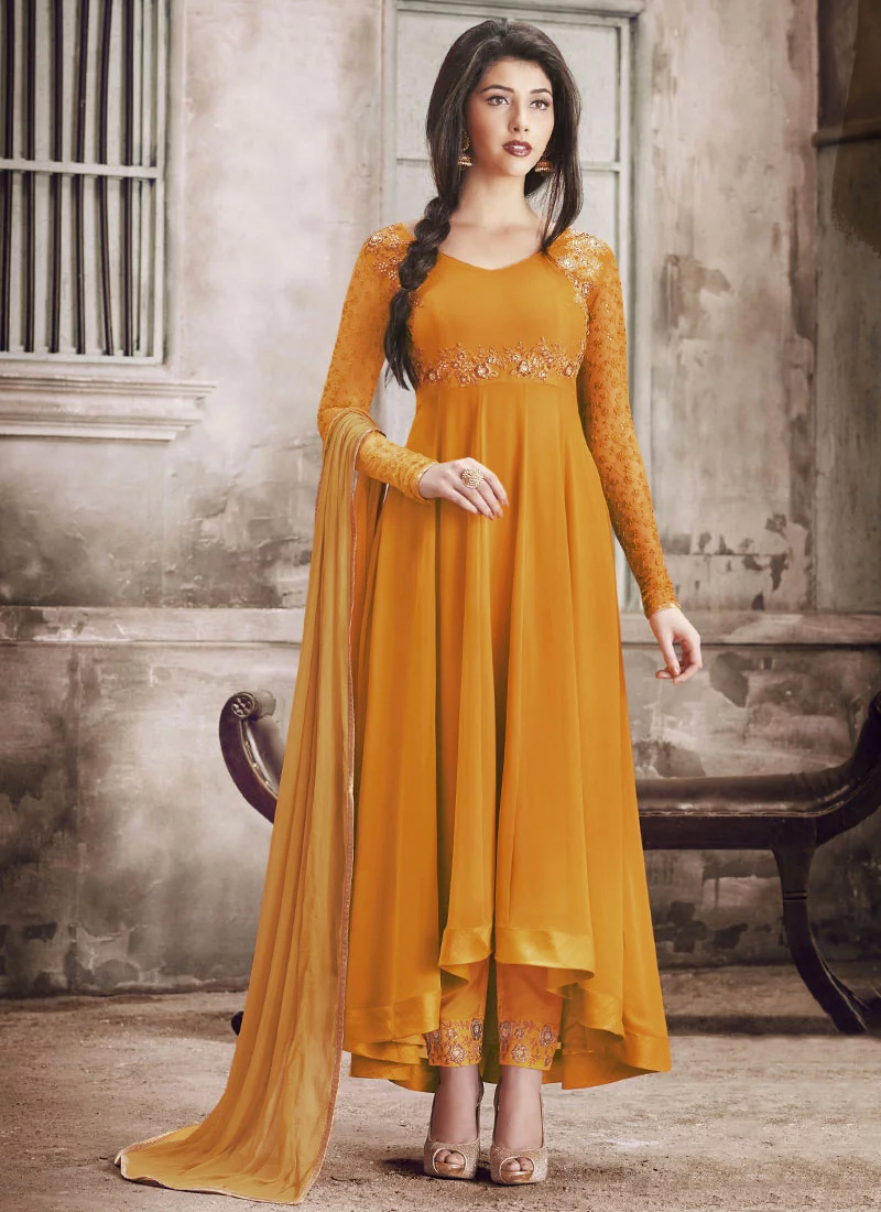 Buy Yellow Georgette Anarkali Suit, anarkali-suit Online ...