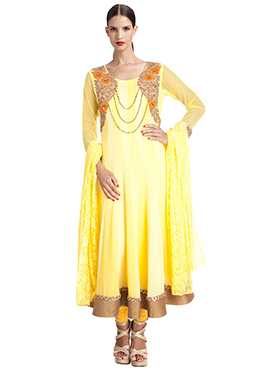 Yellow Georgette Anrkali Suit