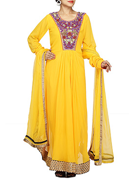 Yellow Georgette Asymmetrical Anarkali Suit