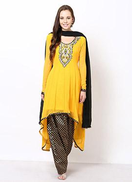Yellow Georgette Asymmetrical Plus Size Anarkali S