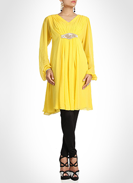 Yellow Georgette Beads Embellished Tunic