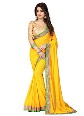 Yellow Georgette Border Saree