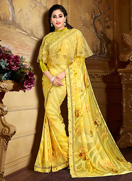 Yellow Georgette Capes Style Saree