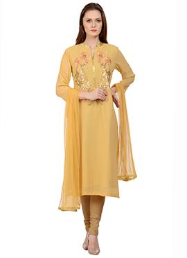 Yellow Georgette Churidar Suit