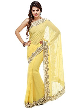 Yellow Georgette Crystals Embellished Saree