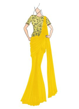 Yellow Georgette Drape Saree with Gold Embroidered Blouse