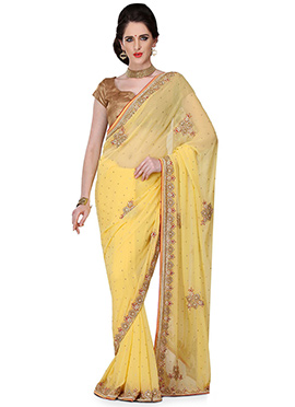 Yellow Georgette Embellished Saree