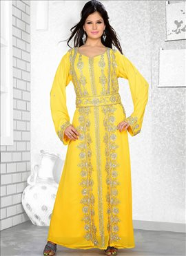 Yellow Georgette Fustan Dress