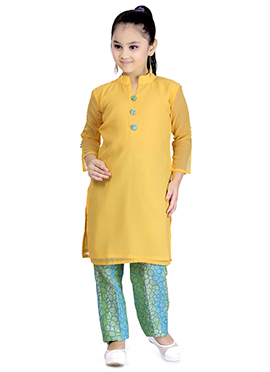 Yellow Georgette Kids Straight Pant Suit