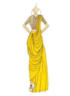 Yellow Georgette Pre Draped Saree