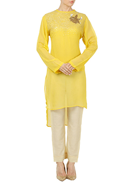 Yellow Georgette Straight Pant Set