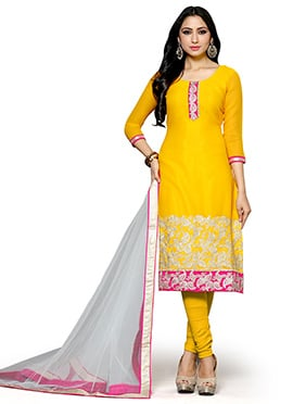 Yellow Georgette Straight Suit
