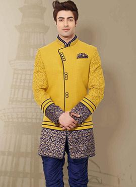 Yellow Indo Western Sherwani