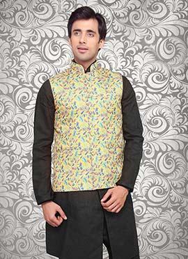 Yellow Jute Nehru Jacket
