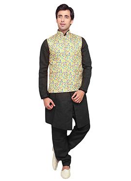 Yellow Jute Printed Plus Size Bandhgala Jacket