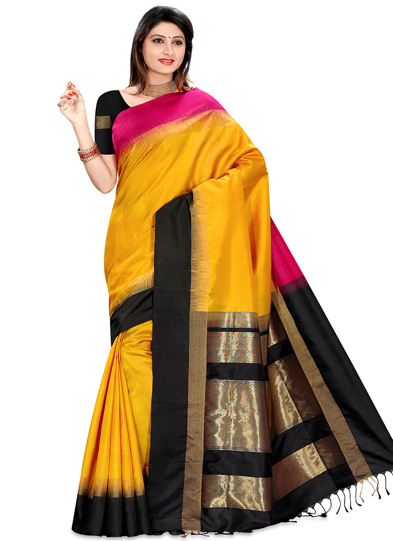 Buy Yellow Kancheepuram Pure Silk Saree Kancheepuram