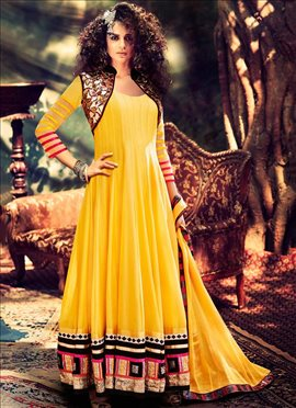 Yellow Kangana Ranaut Ankle Length Anarkali