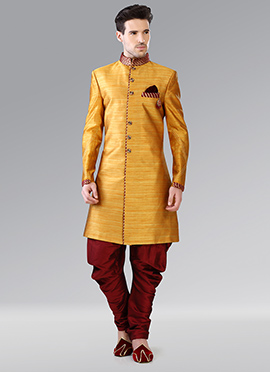Yellow Khadi Indowestern Patiala Style Sherwani