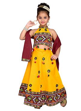 Yellow Kids A Line Lehenga Choli