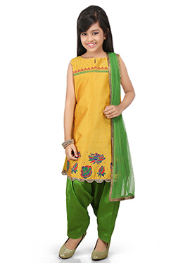 Yellow Kids Art Dupion Silk Salwar Kameez