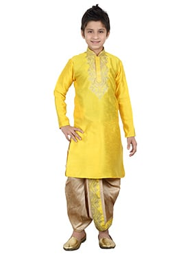 Yellow Kids Dhoti Kurta