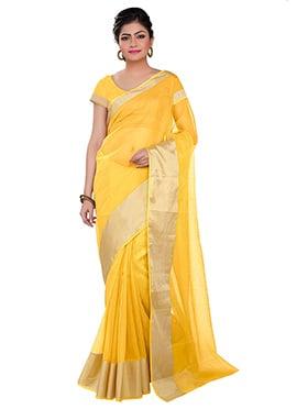 Yellow Kota Art Silk Cotton Border Saree