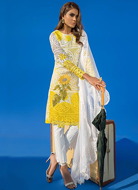 Yellow Lawn Straight Pant Suit