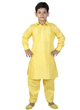 Yellow Linen Cotton Kids Pathani