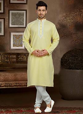 Yellow Linen Cotton Kurta Pyjama