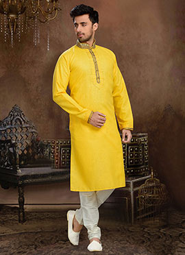 Yellow Linen Cotton Kurta Pyjama