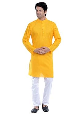 Yellow Linen N Cotton Kurta Pyjama