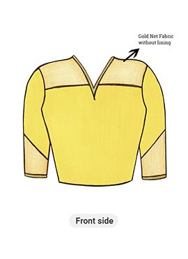 Yellow Long Blouse with Net Yoke and Sleeve