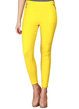 Yellow Lycra Cotton Straight Pant