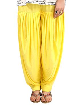 Yellow Lycra Patiala Pant