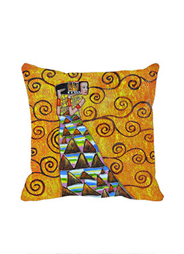 Yellow Music Lady Cushion Cover