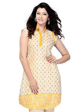 Yellow N Beige Blended Cotton Short Kurti