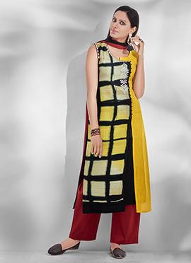 Yellow N Black Chanderi Silk Palazzo Suit